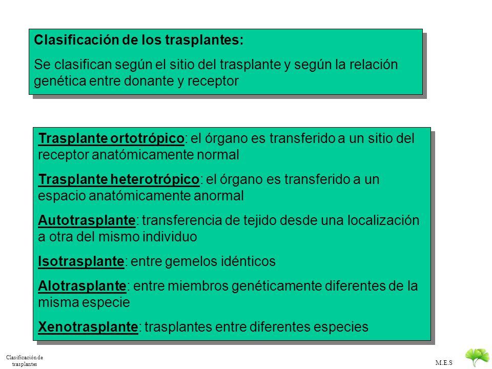 Clasificación de trasplantes