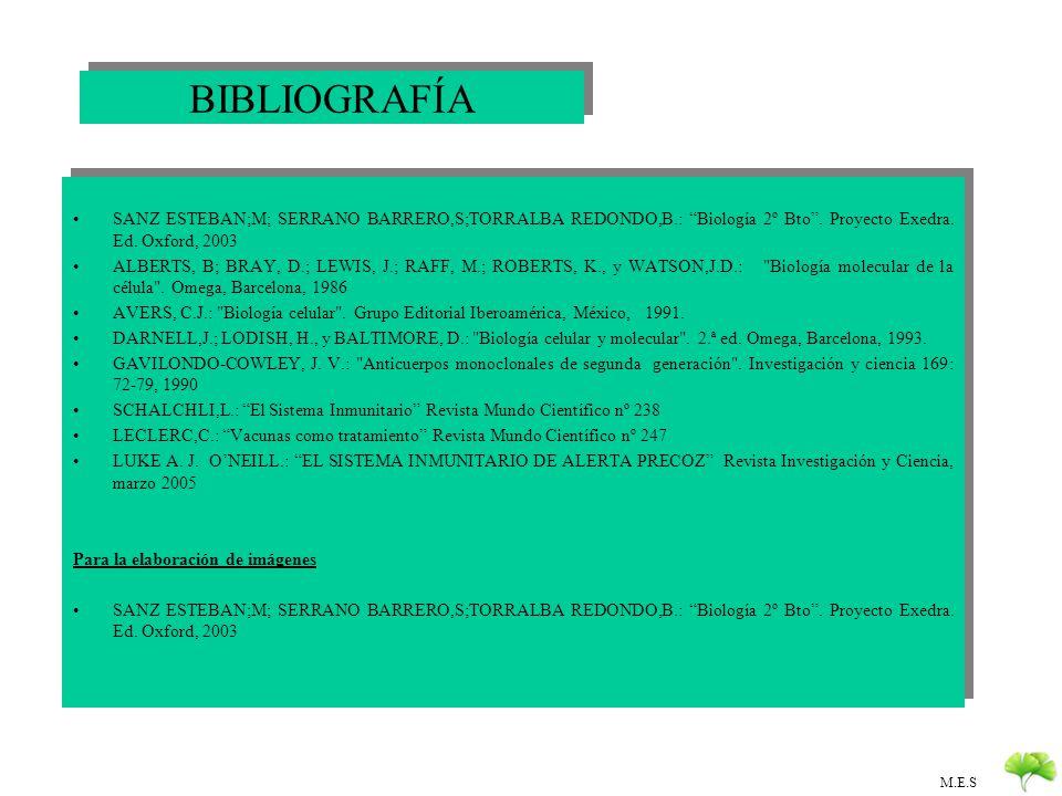 BIBLIOGRAFÍA SANZ ESTEBAN;M; SERRANO BARRERO,S;TORRALBA REDONDO,B.: Biología 2º Bto . Proyecto Exedra. Ed. Oxford, 2003.