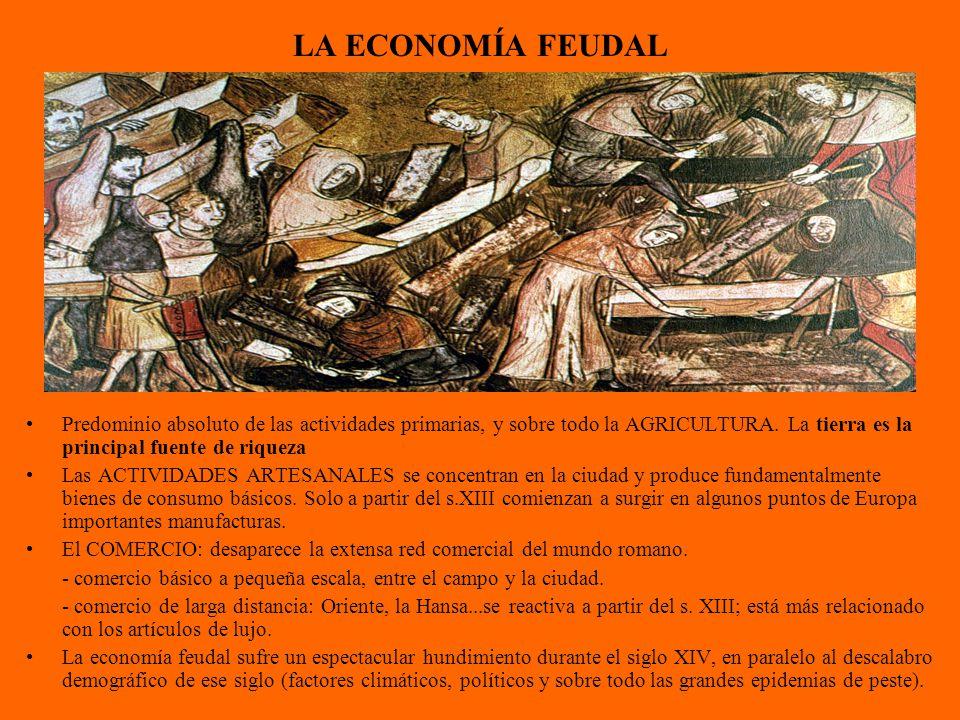 LA ECONOMÍA FEUDAL Predominio absoluto de las actividades primarias, y sobre todo la AGRICULTURA. La tierra es la principal fuente de riqueza.