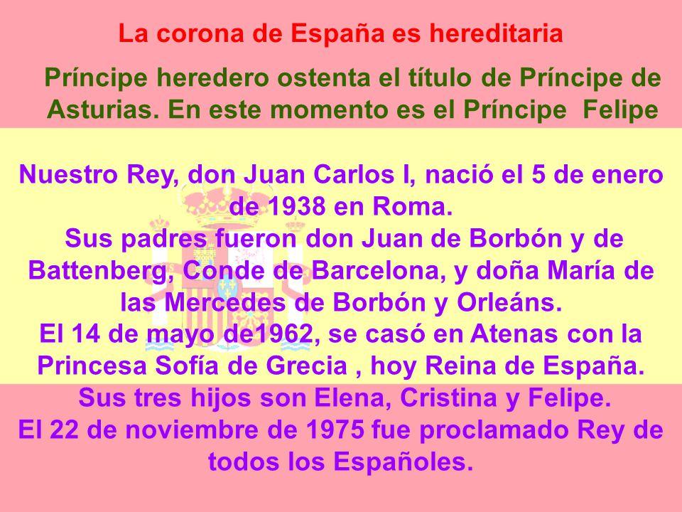 La corona de España es hereditaria