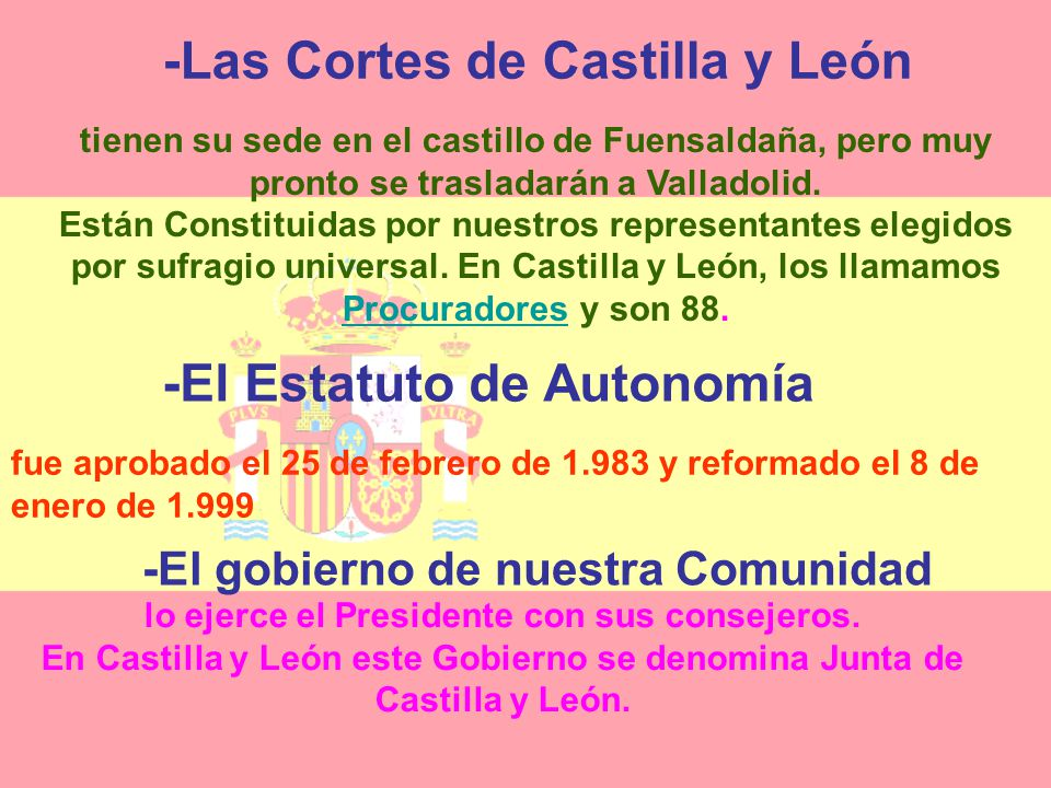 -Las Cortes de Castilla y León -El Estatuto de Autonomía