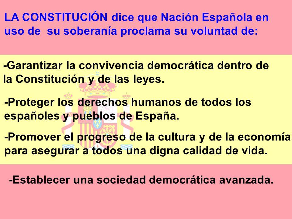 LA CONSTITUCIÓN dice que Nación Española en uso de su soberanía proclama su voluntad de: