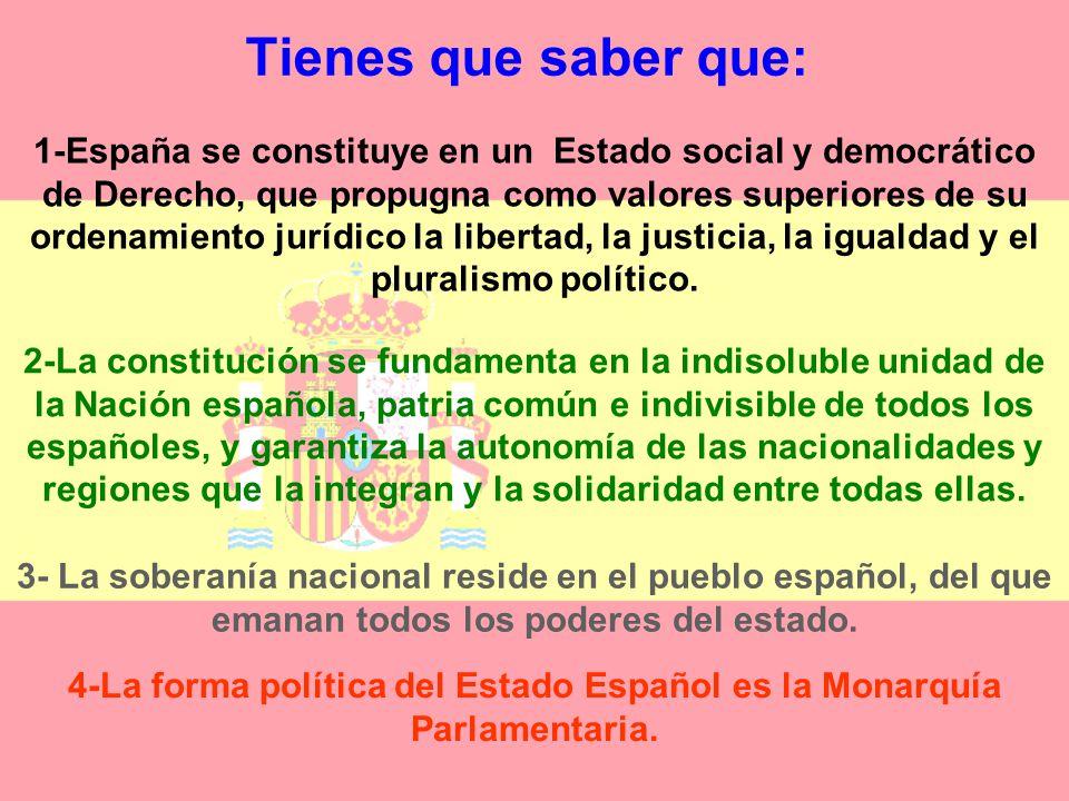 4-La forma política del Estado Español es la Monarquía Parlamentaria.