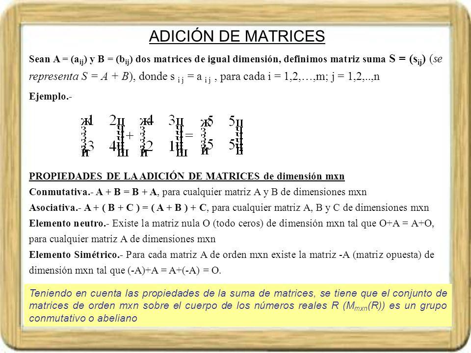 ADICIÓN DE MATRICES
