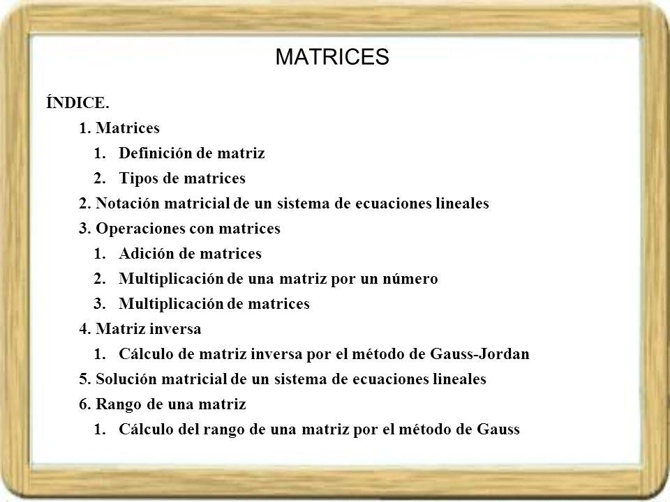 MATRICES ÍNDICE. Matrices Definición de matriz Tipos de matrices