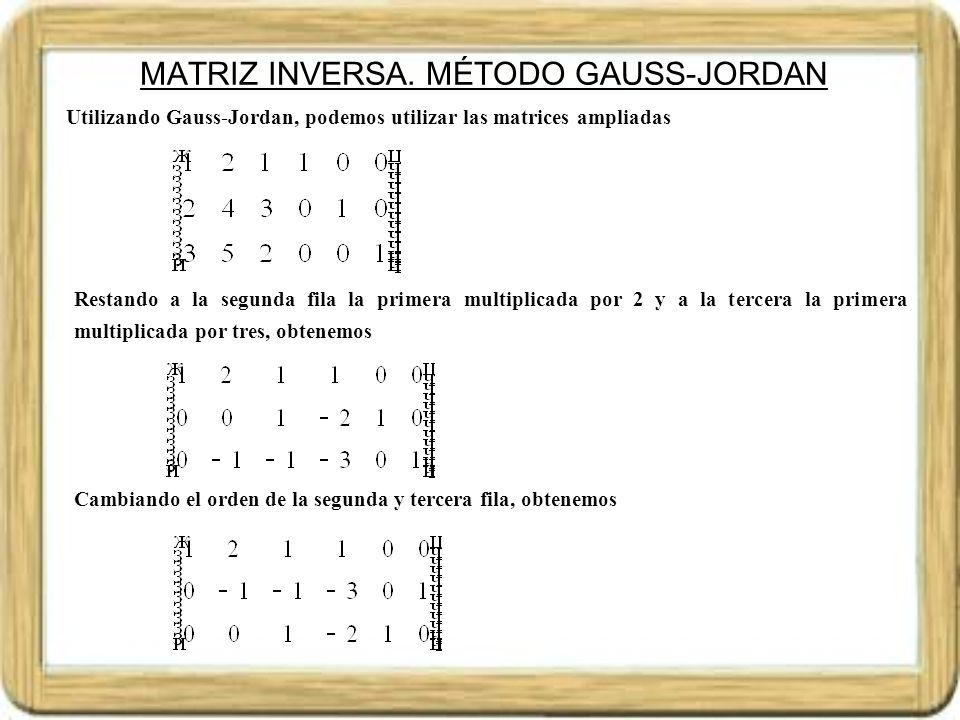 MATRIZ INVERSA. MÉTODO GAUSS-JORDAN
