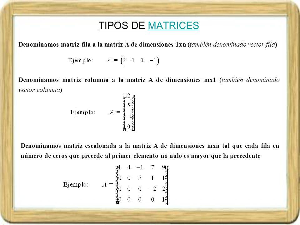 TIPOS DE MATRICES Denominamos matriz fila a la matriz A de dimensiones 1xn (también denominado vector fila)