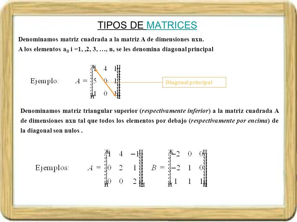 TIPOS DE MATRICES Denominamos matriz cuadrada a la matriz A de dimensiones nxn.