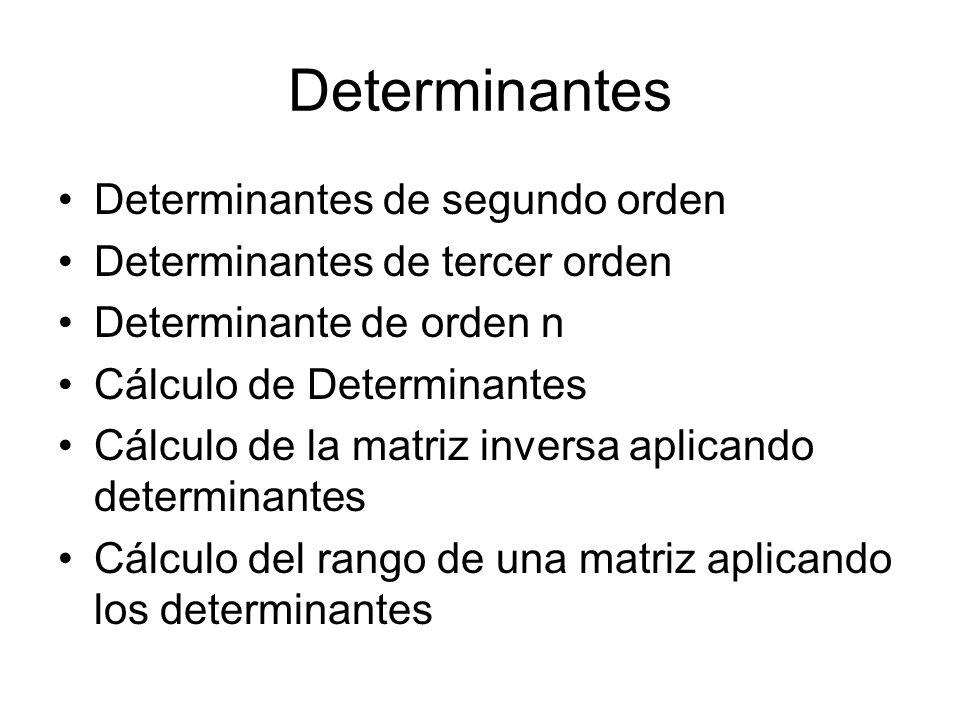 Determinantes Determinantes de segundo orden