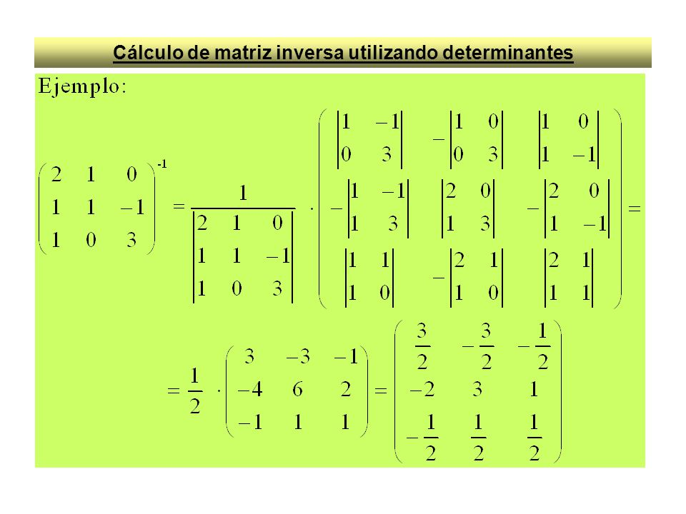 Cálculo de matriz inversa utilizando determinantes