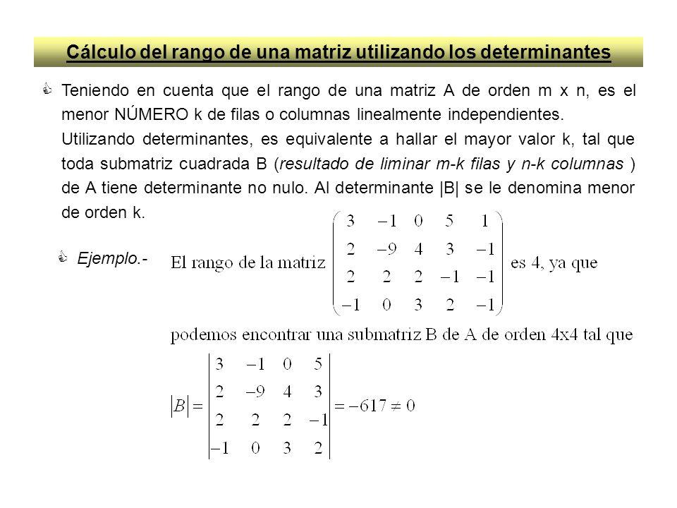 Cálculo del rango de una matriz utilizando los determinantes