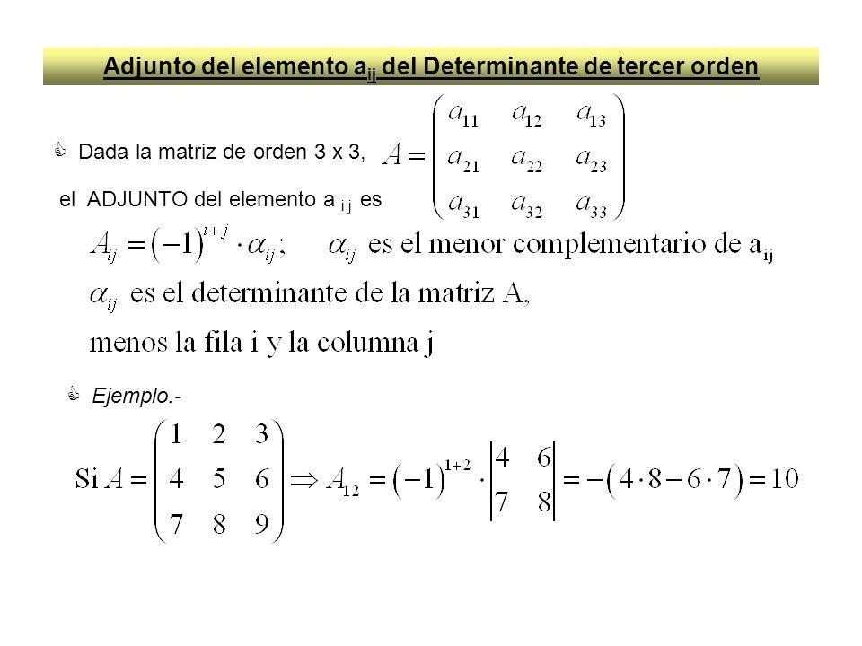 Adjunto del elemento aij del Determinante de tercer orden