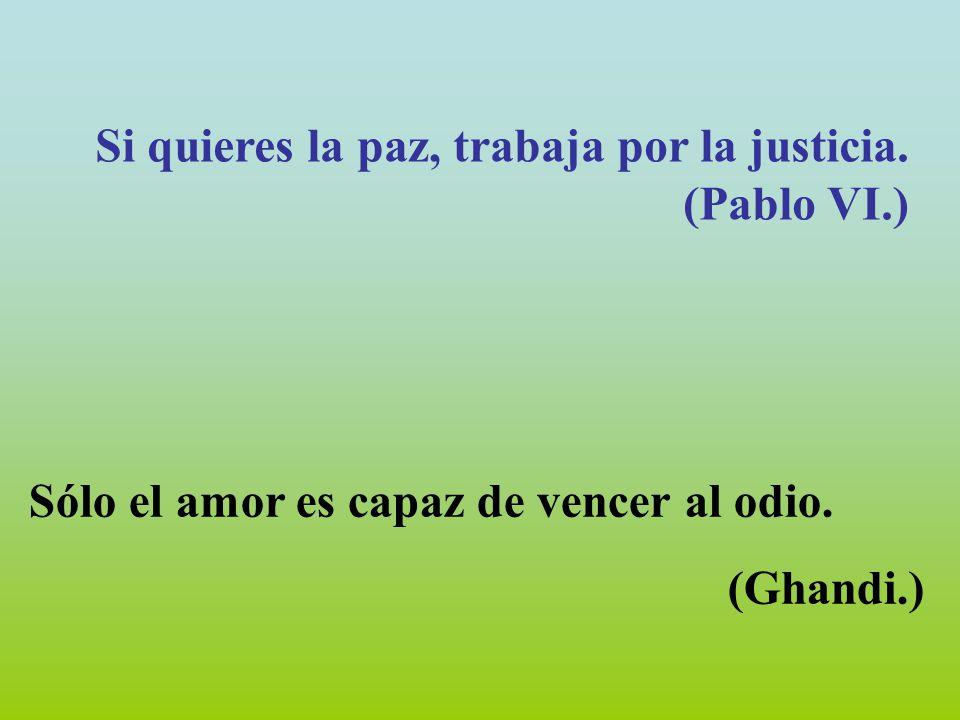 Si quieres la paz, trabaja por la justicia. (Pablo VI.)