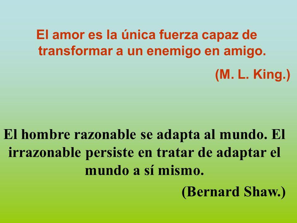 El amor es la única fuerza capaz de transformar a un enemigo en amigo.