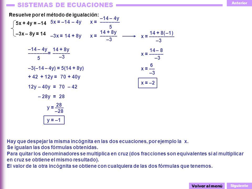 Resuelve por el método de igualación: –14 – 4y 5x + 4y = –14