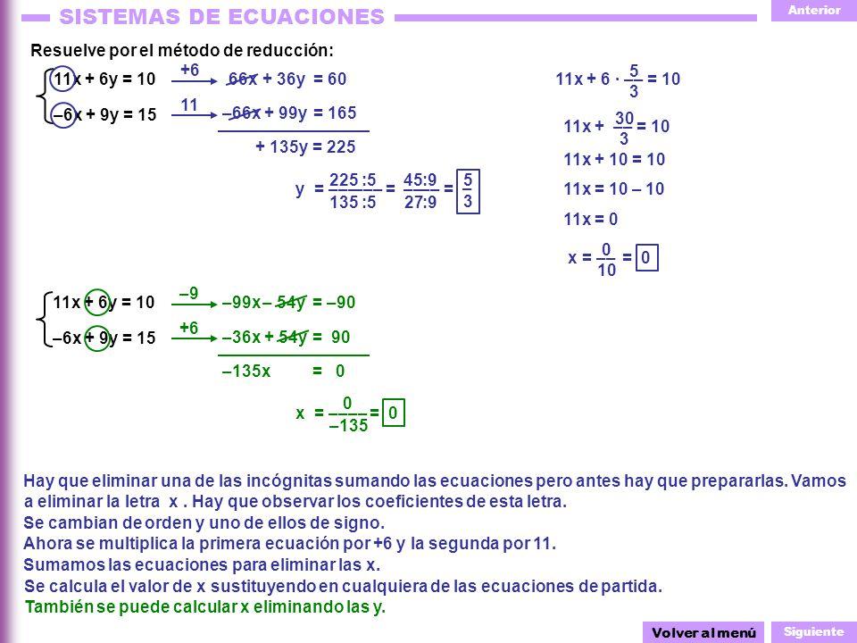 Resuelve por el método de reducción: +6 5 3 11x + 6y = 10