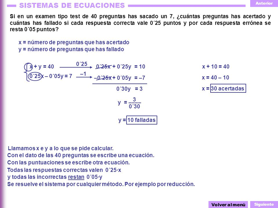 x = número de preguntas que has acertado