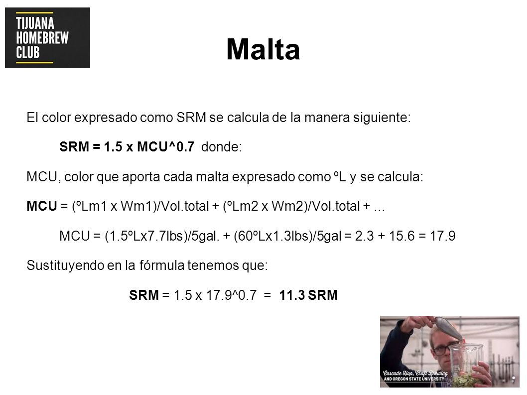 Malta El color expresado como SRM se calcula de la manera siguiente: