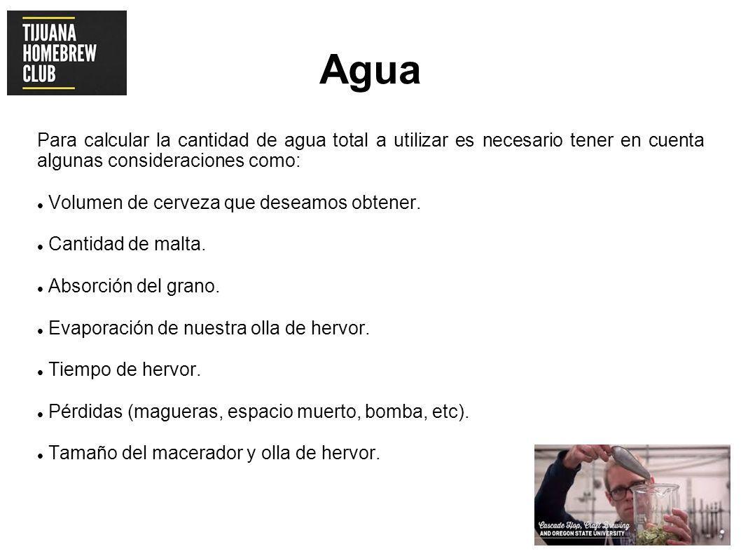 AguaPara calcular la cantidad de agua total a utilizar es necesario tener en cuenta algunas consideraciones como: