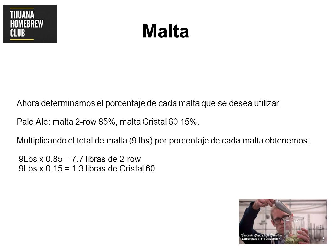 Malta Ahora determinamos el porcentaje de cada malta que se desea utilizar. Pale Ale: malta 2-row 85%, malta Cristal 60 15%.