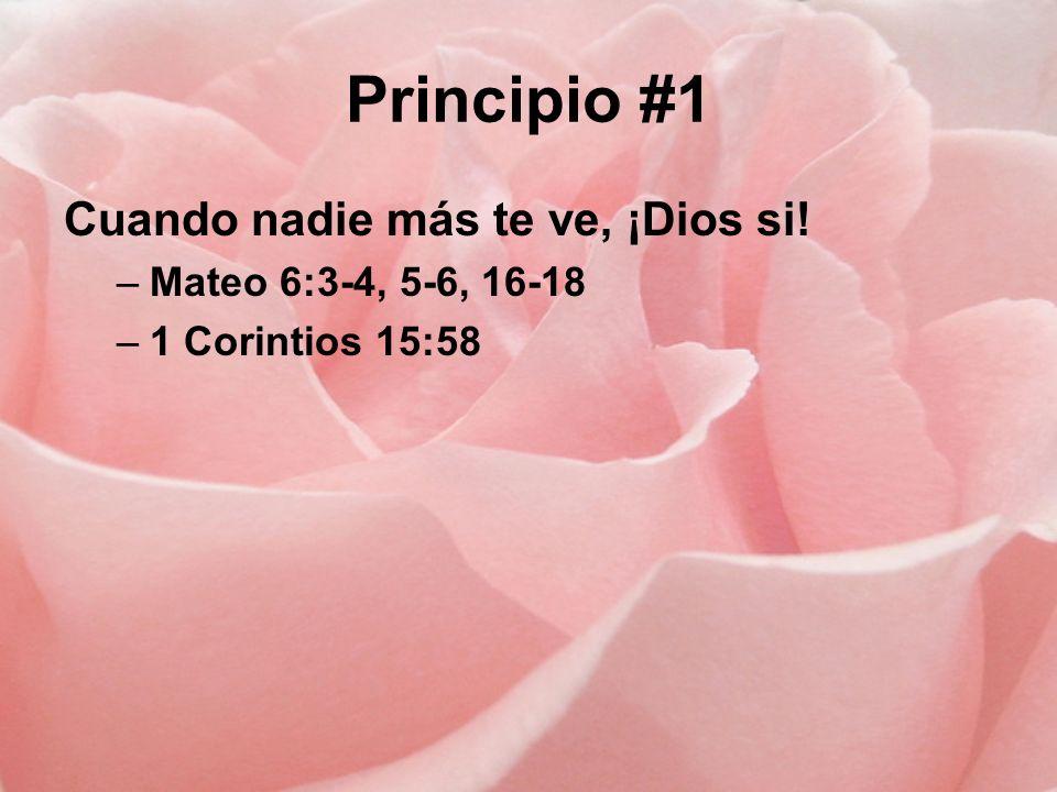 Principio #1 Cuando nadie más te ve, ¡Dios si! Mateo 6:3-4, 5-6, 16-18
