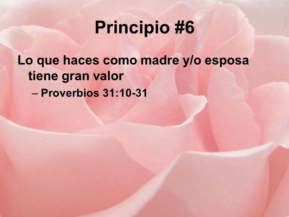 Principio #6 Lo que haces como madre y/o esposa tiene gran valor