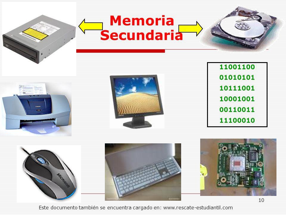 Memoria Secundaria 11001100. 01010101. 10111001. 10001001. 00110011. 11100010.