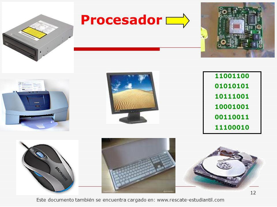 Procesador 11001100. 01010101. 10111001. 10001001. 00110011. 11100010.