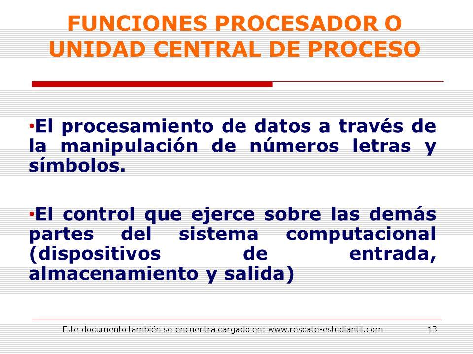 FUNCIONES PROCESADOR O UNIDAD CENTRAL DE PROCESO