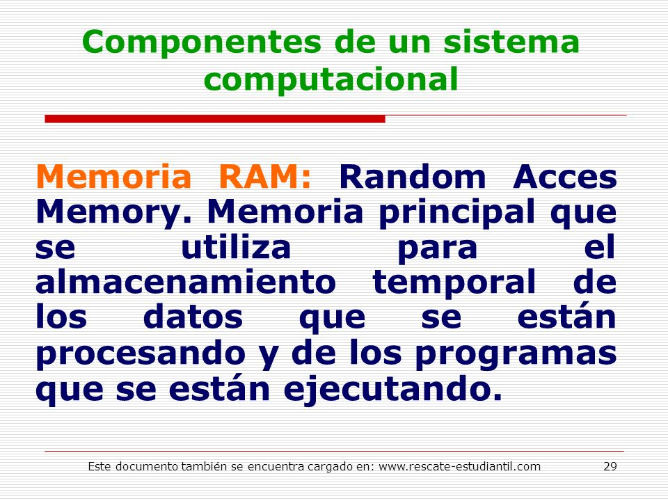 Componentes de un sistema computacional