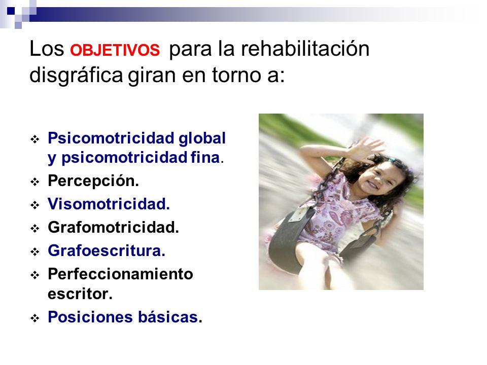 Los OBJETIVOS para la rehabilitación disgráfica giran en torno a: