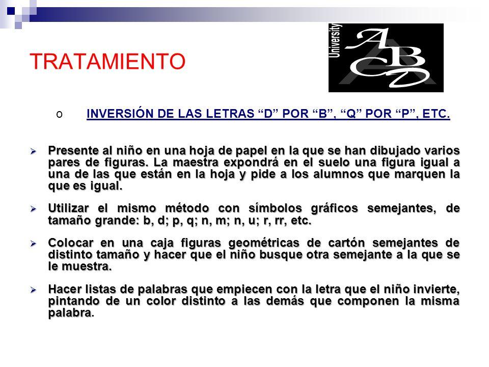 o INVERSIÓN DE LAS LETRAS D POR B , Q POR P , ETC.
