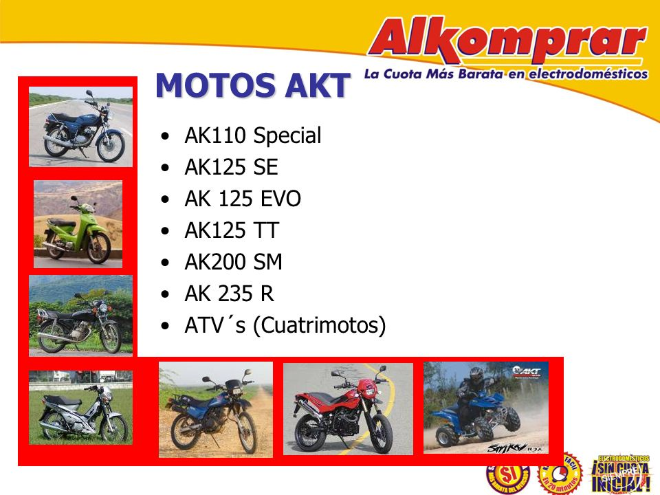 MOTOS AKT AK110 Special AK125 SE AK 125 EVO AK125 TT AK200 SM AK 235 R