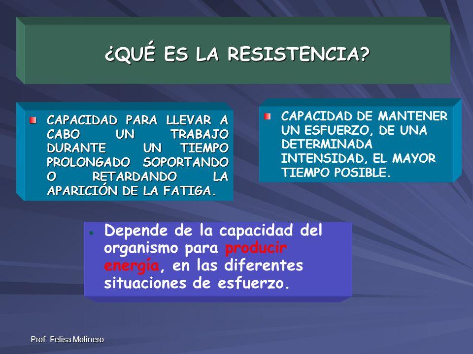 ¿QUÉ ES LA RESISTENCIA CAPACIDAD DE MANTENER UN ESFUERZO, DE UNA DETERMINADA INTENSIDAD, EL MAYOR TIEMPO POSIBLE.