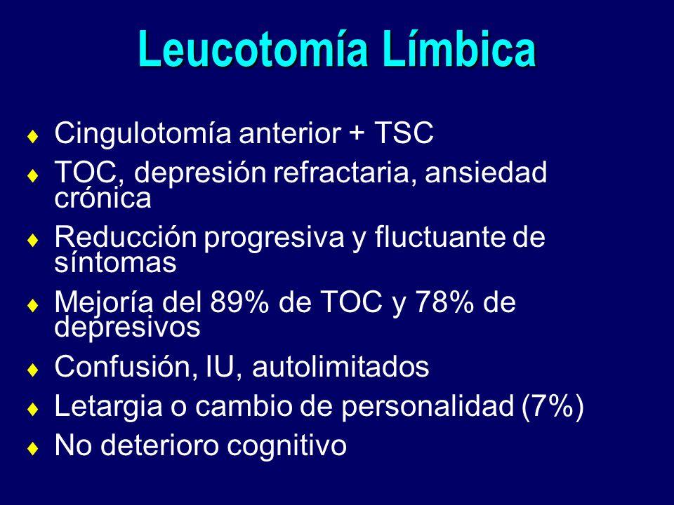 Leucotomía Límbica Cingulotomía anterior + TSC