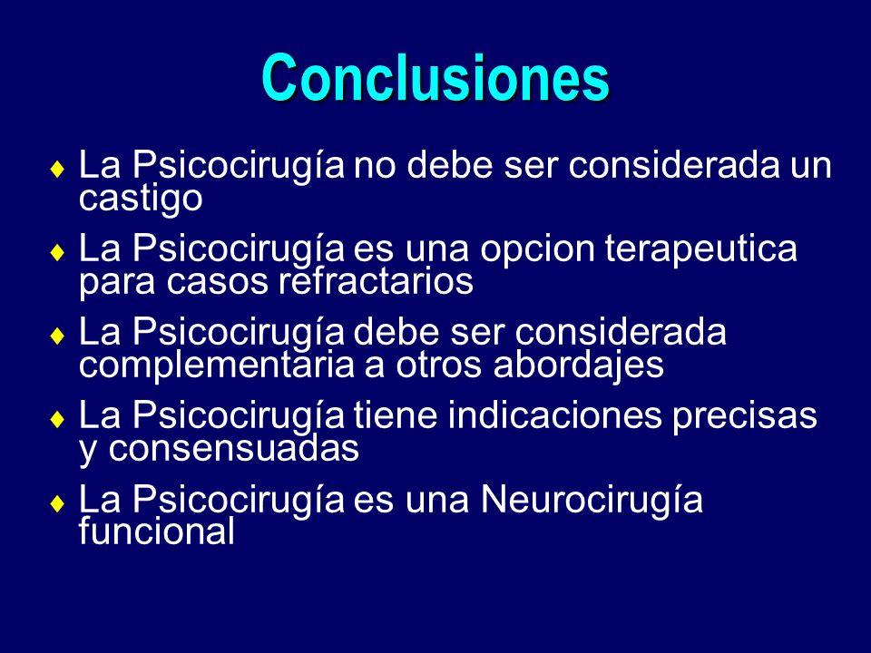 Conclusiones La Psicocirugía no debe ser considerada un castigo