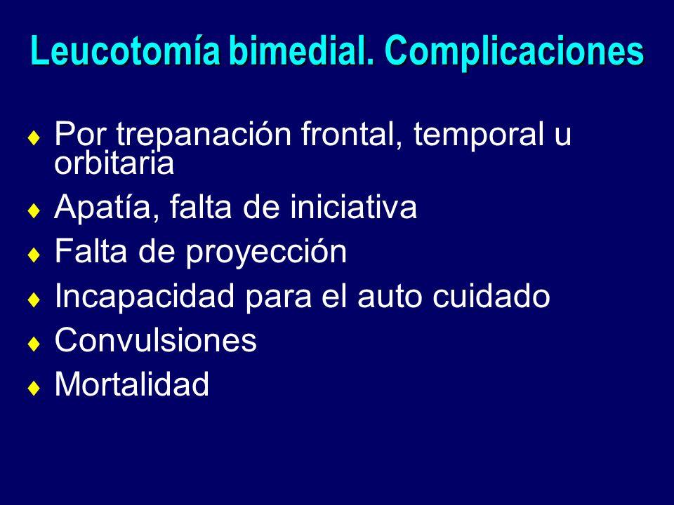 Leucotomía bimedial. Complicaciones