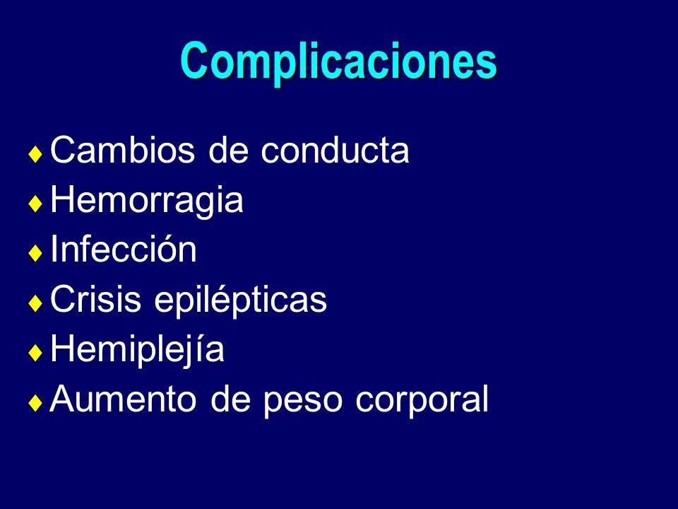 Complicaciones Cambios de conducta Hemorragia Infección