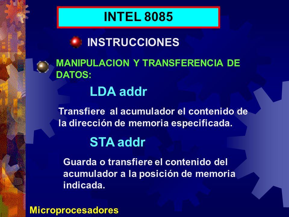 INTEL 8085 LDA addr STA addr INSTRUCCIONES
