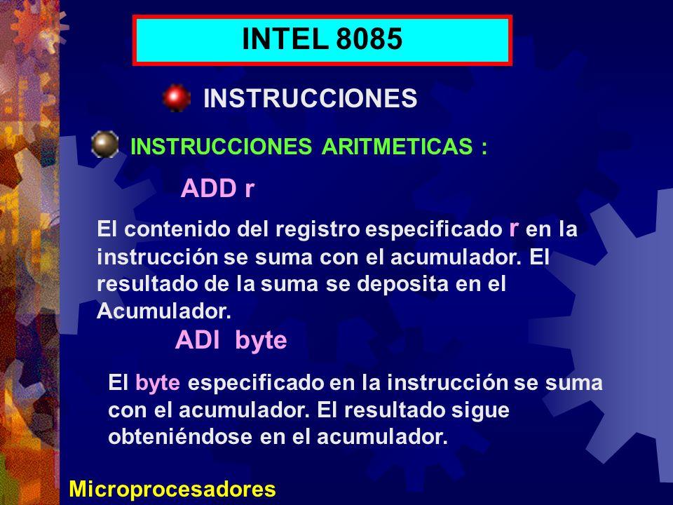 INTEL 8085 INSTRUCCIONES ADD r ADI byte INSTRUCCIONES ARITMETICAS :