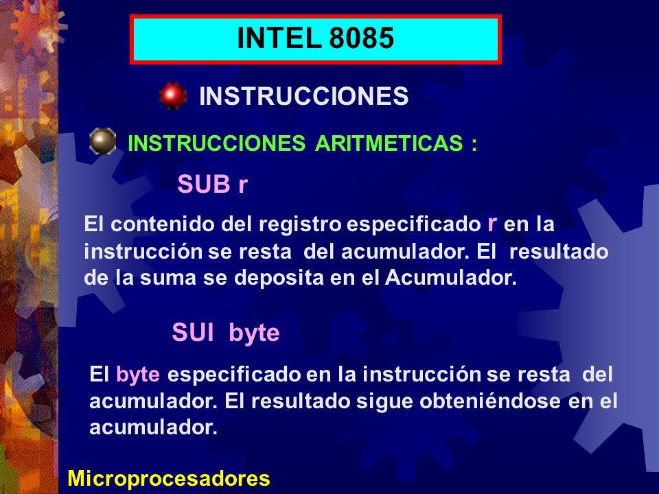 INTEL 8085 INSTRUCCIONES SUB r SUI byte INSTRUCCIONES ARITMETICAS :