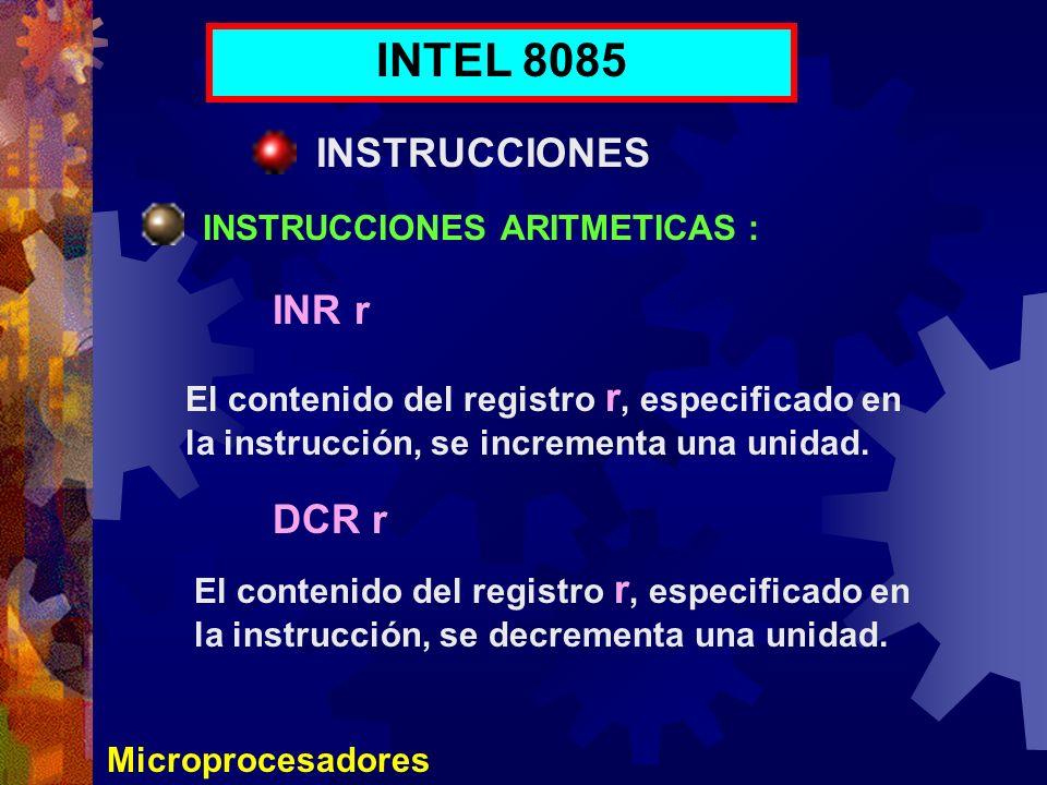 INTEL 8085 INSTRUCCIONES INR r DCR r INSTRUCCIONES ARITMETICAS :