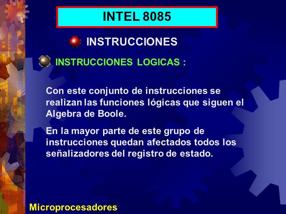 INTEL 8085 INSTRUCCIONES INSTRUCCIONES LOGICAS :
