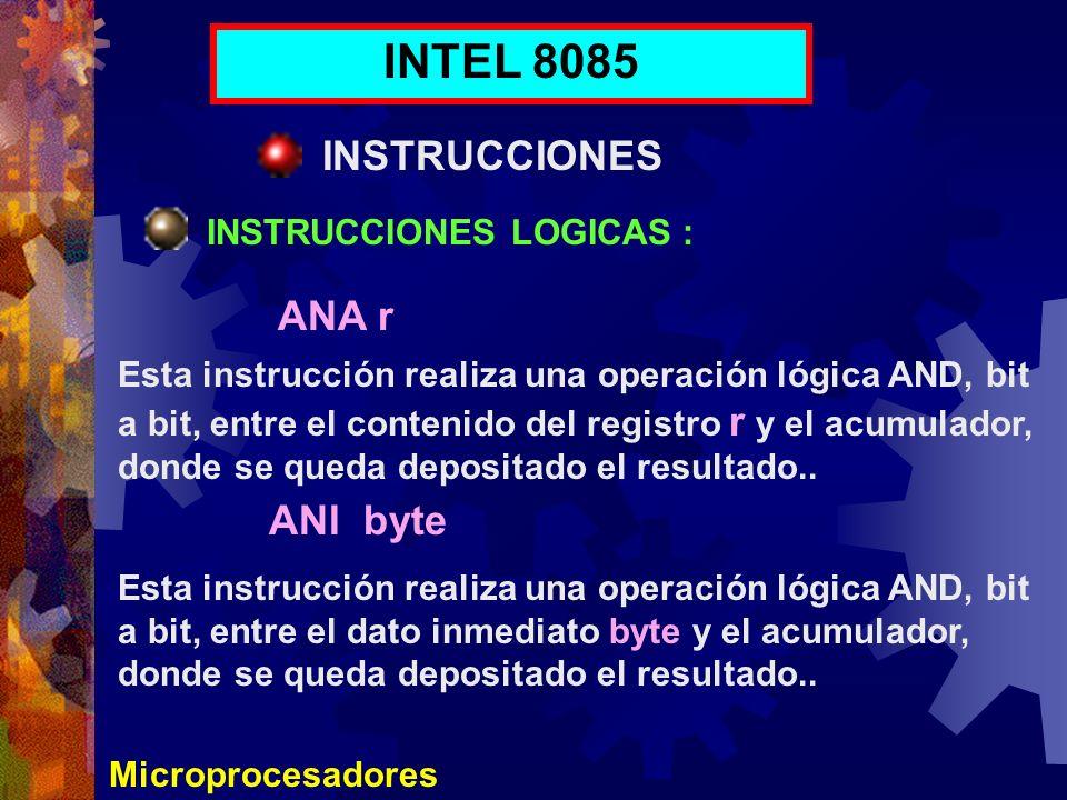 INTEL 8085 INSTRUCCIONES ANA r ANI byte INSTRUCCIONES LOGICAS :