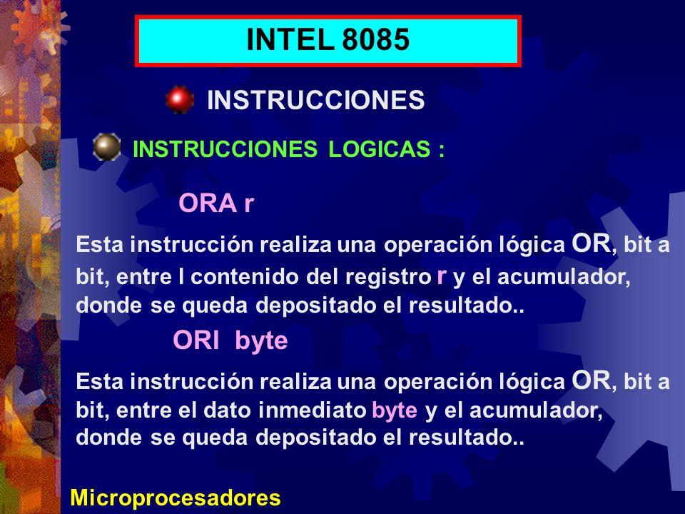 INTEL 8085 INSTRUCCIONES ORA r ORI byte INSTRUCCIONES LOGICAS :