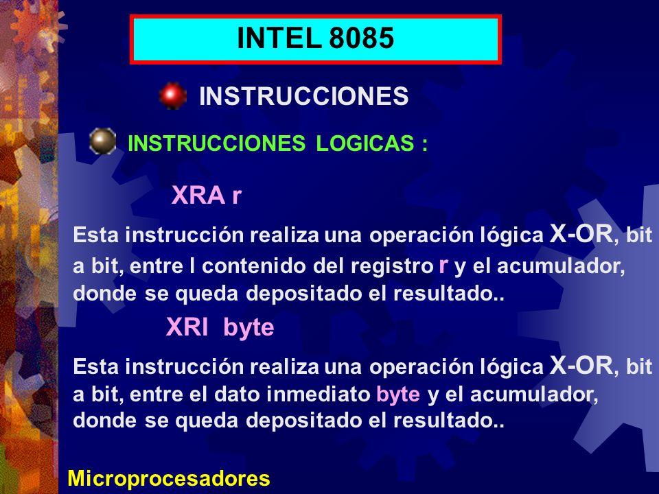 INTEL 8085 INSTRUCCIONES XRA r XRI byte INSTRUCCIONES LOGICAS :