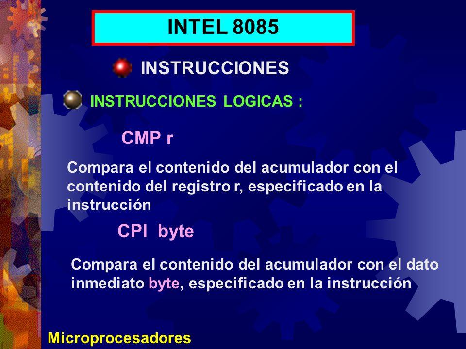 INTEL 8085 INSTRUCCIONES CMP r CPI byte INSTRUCCIONES LOGICAS :