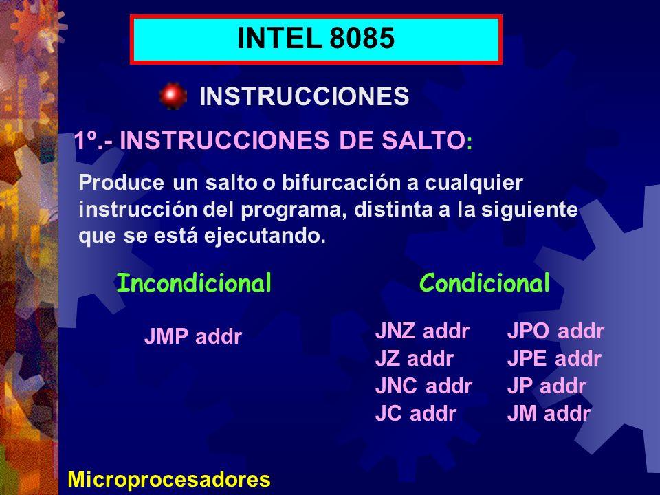 INTEL 8085 INSTRUCCIONES 1º.- INSTRUCCIONES DE SALTO: Incondicional