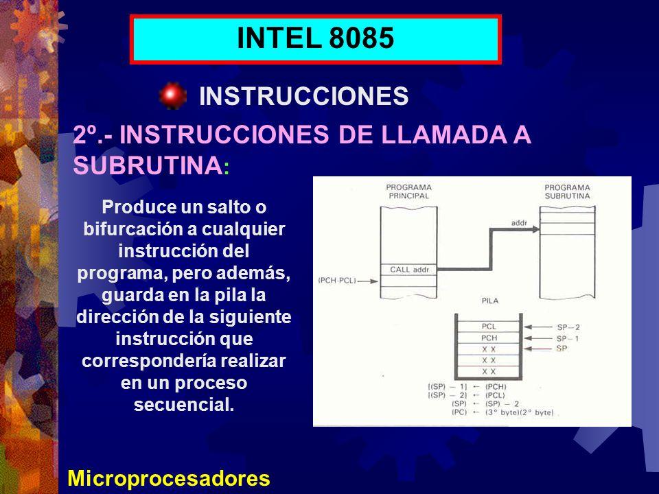 INTEL 8085 INSTRUCCIONES 2º.- INSTRUCCIONES DE LLAMADA A SUBRUTINA: