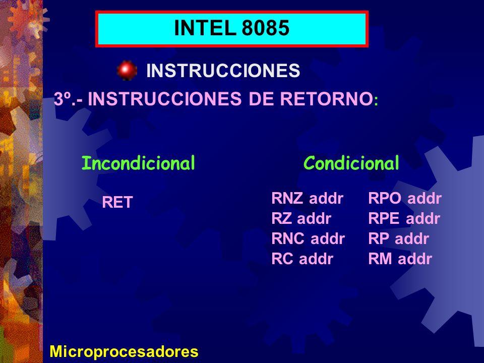 INTEL 8085 INSTRUCCIONES 3º.- INSTRUCCIONES DE RETORNO: Incondicional
